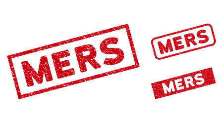 Mers stamps. Red vector rectangular distress seal stamps with Mers phrase. Useful for rubber imitations with grunge rubber surface. 일러스트