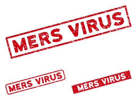 Mers Virus seal stamps. Red vector rectangular textured stamps with Mers Virus message. Designed for rubber imitations with corroded rubber style.