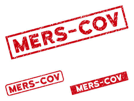 Mers-Cov seal stamps. Red vector rectangle textured seal stamps with Mers-Cov text. Useful for overlays with corroded rubber surface.