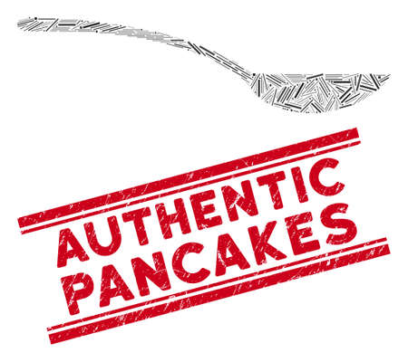 Mosaic empty spoon pictogram and red Authentic Pancakes seal stamp between double parallel lines. Flat vector empty spoon mosaic pictogram of scattered rotated line items.
