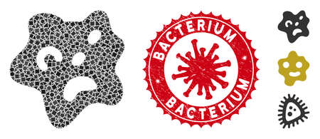 Mosaic amoeba icon and red rounded rubber stamp seal with Bacterium caption and coronavirus symbol. Mosaic vector is composed from amoeba icon and with randomraggy elements. Ilustrace