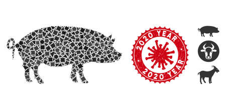 Mosaic swine icon and red round rubber stamp seal with 2020 Year phrase and coronavirus symbol. Mosaic vector is created with swine icon and with scatteredhumpy pieces.