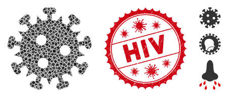 Mosaic HIV virus icon and red round corroded stamp seal with HIV caption and coronavirus symbol. Mosaic vector is formed with HIV virus icon and with randomizedinequal parts. HIV seal uses red color,