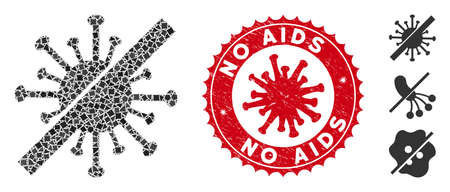 Mosaic disinfect coronavirus icon and red round grunge stamp seal with No AIDS text and coronavirus symbol.