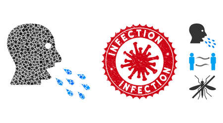 Collage respiratory infection icon and red round rubber stamp watermark with Infection caption and coronavirus symbol.
