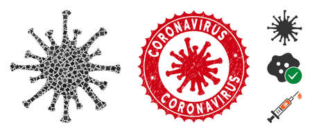 Mosaic coronavirus icon and red rounded grunge stamp seal with Coronavirus text and coronavirus symbol. Mosaic vector is formed with coronavirus icon and with randomhumpy pieces.