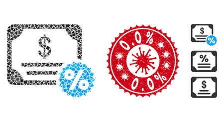 Mosaic bond coupon icon and red rounded rubber stamp seal with 0.0% caption and coronavirus symbol. Mosaic vector is composed from bond coupon icon and with scattered ragged pieces. 0.