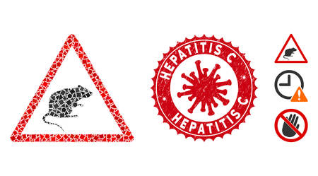 Mosaic rat warning icon and red rounded distressed stamp seal with Hepatitis C text and coronavirus symbol. Mosaic vector is designed with rat warning icon and with random tremulant elements.