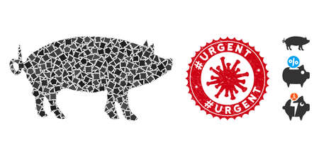 Mosaic pig icon and red rounded corroded stamp seal with #Urgent phrase and coronavirus symbol. Mosaic vector is created with pig icon and with random tremulant items.