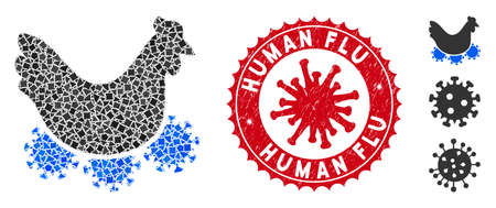 Mosaic chicken virus icon and red round corroded stamp seal with Human Flu text and coronavirus symbol. Mosaic vector is composed with chicken virus pictogram and with randomizedhumpy pieces.