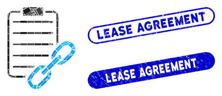 Mosaic blockchain contract and corroded stamp seals with Lease Agreement caption. Mosaic vector blockchain contract is formed with random rectangle items. Lease Agreement stamp seals use blue color,