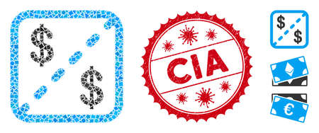 Mosaic financial shares icon and red rounded grunge stamp seal with CIA caption and coronavirus symbol. Mosaic vector is created with financial shares pictogram and with random ragged pieces.