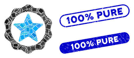 Mosaic award star seal and corroded stamp seals with 100% Pure text. Mosaic vector award star seal is formed with scattered rectangle items. 100% Pure seals use blue color, Illustration