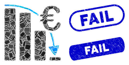 Mosaic Euro epic fail crisis and rubber stamp watermarks with Fail text. Mosaic vector Euro epic fail crisis is designed with scattered rectangle items. Fail stamp seals use blue color,