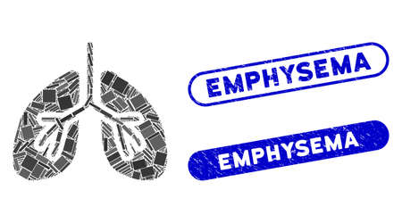 Mosaic lungs and rubber stamp watermarks with Emphysema phrase. Mosaic vector lungs is formed with randomized rectangle items. Emphysema stamp seals use blue color, and have round rectangle shape.