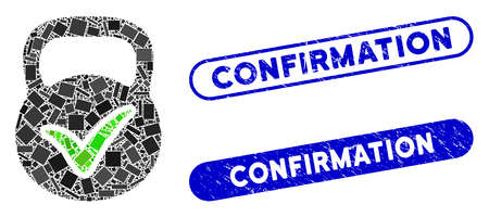 Collage valid mass and corroded stamp seals with Confirmation phrase. Mosaic vector valid mass is created with randomized rectangle items. Confirmation seals use blue color,