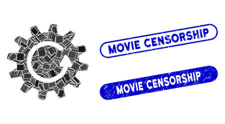 Mosaic cogwheel rotation and corroded stamp seals with Movie Censorship phrase. Mosaic vector cogwheel rotation is composed with random rectangle items. Movie Censorship stamp seals use blue color,