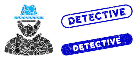 Mosaic detective and grunge stamp seals with Detective text. Mosaic vector detective is composed with randomized rectangle items. Detective seals use blue color, and have round rectangle shape.