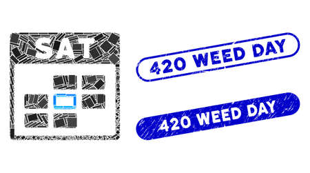 Mosaic Saturday calendar grid and grunge stamp seals with 420 Weed Day text. Mosaic vector Saturday calendar grid is composed with randomized rectangle items. 420 Weed Day seals use blue color, Иллюстрация