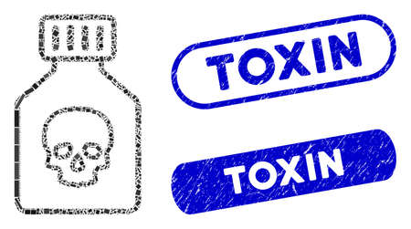Mosaic poison phial and grunge stamp seals with Toxin text. Mosaic vector poison phial is designed with random rectangle items. Toxin stamp seals use blue color, and have round rectangle shape.