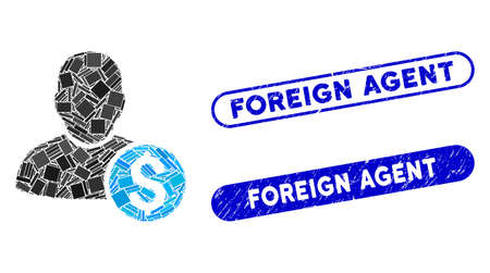 Collage businessman and grunge stamp seals with Foreign Agent phrase. Mosaic vector businessman is formed with random rectangle items. Foreign Agent stamp seals use blue color, Illustration