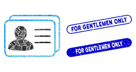 Mosaic account cards and corroded stamp seals with For Gentlemen Only phrase. Mosaic vector account cards is composed with randomized rectangles. For Gentlemen Only seals use blue color,