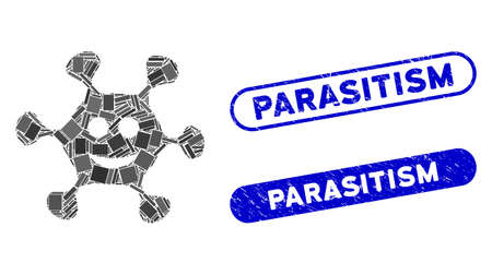 Mosaic happy microbe and distressed stamp seals with Parasitism text. Mosaic vector happy microbe is created with randomized rectangles. Parasitism stamp seals use blue color, Vecteurs