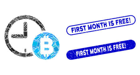 Mosaic Bitcoin credit clock and grunge stamp seals with First Month Is Free! phrase. Mosaic vector Bitcoin credit clock is created with randomized rectangle items.