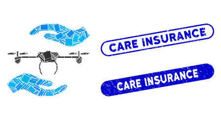 Mosaic airdrone care hands and corroded stamp watermarks with Care Insurance text. Mosaic vector airdrone care hands is composed with scattered rectangle items.