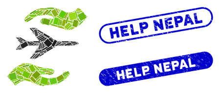 Mosaic airplane care hands and distressed stamp watermarks with Help Nepal caption. Mosaic vector airplane care hands is created with random rectangle items. Help Nepal stamp seals use blue color,