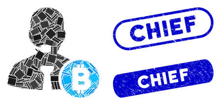 Collage Bitcoin call operator and grunge stamp seals with Chief text. Mosaic vector Bitcoin call operator is composed with scattered rectangle items. Chief stamp seals use blue color,