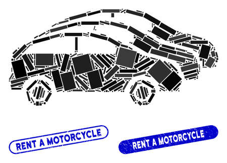Mosaic car traffic and corroded stamp seals with Rent a Motorcycle text. Mosaic vector car traffic is composed with random rectangles. Rent a Motorcycle stamp seals use blue color, Illustration