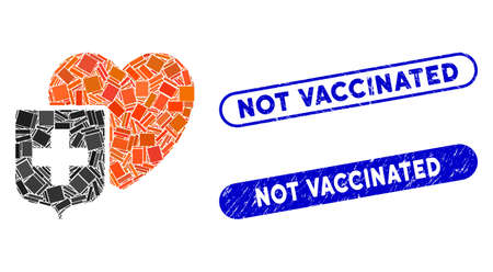 Mosaic heart shield and corroded stamp seals with Not Vaccinated caption. Mosaic vector heart shield is created with randomized rectangle items. Not Vaccinated seals use blue color, Illustration