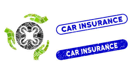Mosaic air copter care hands and grunge stamp seals with Car Insurance caption. Mosaic vector air copter care hands is composed with scattered rectangle items. Illustration