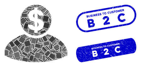 Mosaic banker and corroded stamp seals with Business to Customer B 2 C text. Mosaic vector banker is formed with scattered rectangle items. Business to Customer B 2 C stamp seals use blue color,