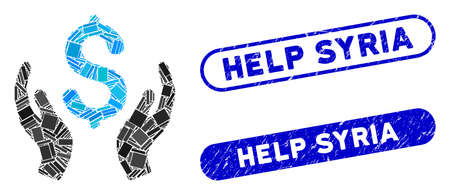 Collage money care hands and rubber stamp seals with Help Syria text. Mosaic vector money care hands is created with randomized rectangle items. Help Syria seals use blue color,