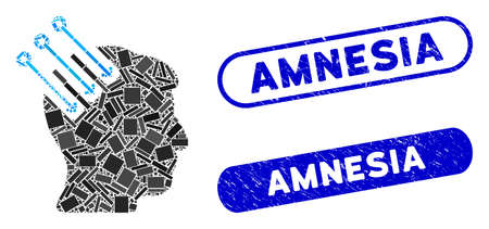 Mosaic neuro interface and rubber stamp seals with Amnesia caption. Mosaic vector neuro interface is created with randomized rectangle items. Amnesia stamp seals use blue color, Illustration
