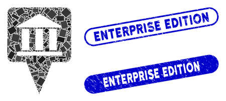 Mosaic bank building pointer and rubber stamp seals with Enterprise Edition phrase. Mosaic vector bank building pointer is formed with randomized rectangle items.