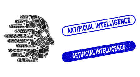 Mosaic artificial intelligence and grunge stamp seals with Artificial Intelligence text. Mosaic vector artificial intelligence is composed with randomized rectangle items.
