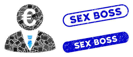 Mosaic Euro clerk and rubber stamp seals with Sex Boss text. Mosaic vector Euro clerk is composed with scattered rectangles. Sex Boss stamp seals use blue color, and have round rectangle shape.