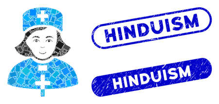 Mosaic church female doctor and rubber stamp watermarks with Hinduism caption. Mosaic vector church female doctor is formed with scattered rectangle items. Hinduism stamp seals use blue color,