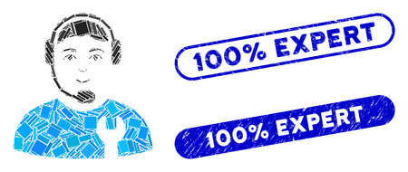 Collage call center serviceman and rubber stamp seals with 100% Expert text. Mosaic vector call center serviceman is composed with randomized rectangle items. 100% Expert stamp seals use blue color, Illusztráció