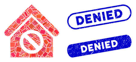 Mosaic forbidden building and rubber stamp watermarks with Denied caption. Mosaic vector forbidden building is formed with random rectangle items. Denied stamp seals use blue color,