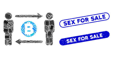 Mosaic persons exchange Bitcoin and corroded stamp watermarks with Sex for Sale text. Mosaic vector persons exchange Bitcoin is formed with random rectangle items.