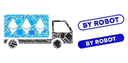 Mosaic Ethereum delivery car and grunge stamp seals with By Robot phrase. Mosaic vector Ethereum delivery car is formed with randomized rectangle items. By Robot stamp seals use blue color,