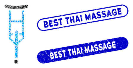 Collage crutch and distressed stamp seals with Best Thai Massage caption. Mosaic vector crutch is designed with scattered rectangle items. Best Thai Massage stamp seals use blue color,