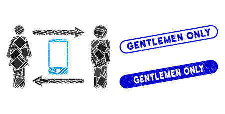 Mosaic people exchange smartphone and rubber stamp watermarks with Gentlemen Only caption. Mosaic vector people exchange smartphone is created with random rectangle items.