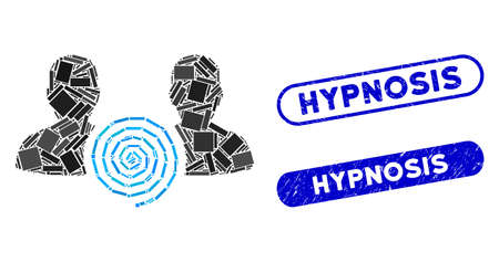 Mosaic hypnosis sect and rubber stamp seals with Hypnosis caption. Mosaic vector hypnosis sect is designed with scattered rectangle items. Hypnosis stamp seals use blue color,