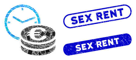 Mosaic Euro credit and rubber stamp seals with Sex Rent caption. Mosaic vector Euro credit is formed with random rectangles. Sex Rent stamp seals use blue color, and have round rectangle shape.