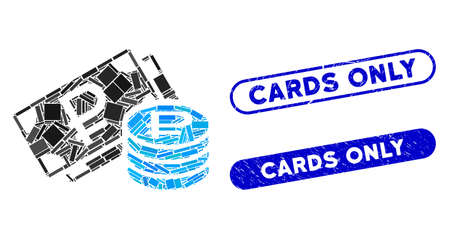Mosaic rouble cash and rubber stamp watermarks with Cards Only text. Mosaic vector rouble cash is designed with scattered rectangle items. Cards Only stamp seals use blue color,